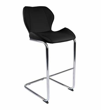 Milano Faux Leather and Chrome Breakfast Bar Chair Black