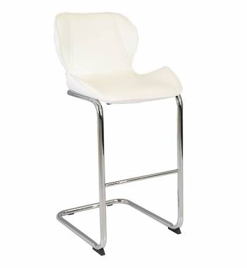 Milano Faux Leather and Chrome Breakfast Bar Stool White
