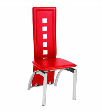 Miller Faux Leather and Chrome High Back Red Dining Chair