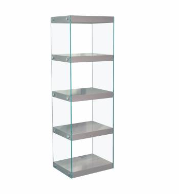 Moda Grey Gloss Glass Display Shelving Unit Large