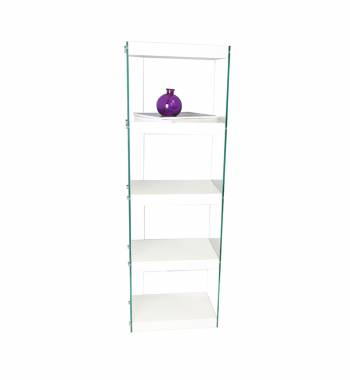 Moda White Gloss Glass Shelving Unit Large