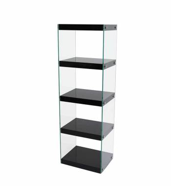 Moda Black Gloss Glass Display Shelving Unit Large