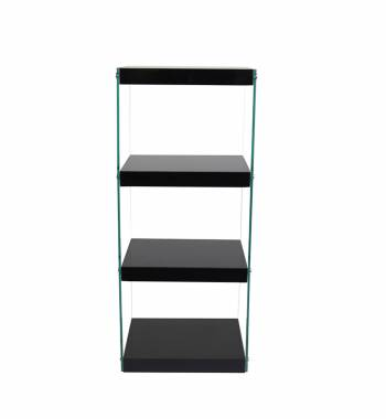 Moda Black Gloss Glass Display Shelving Unit Medium