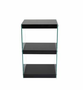 Moda Black Gloss Glass Display Shelving Unit Small