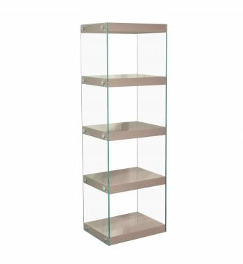 Moda Mink Grey Gloss Glass Display Shelving Unit Large