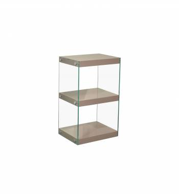 Moda Mink Grey Gloss Glass Display Shelving Unit Small