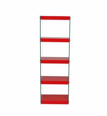 Moda Red Gloss Glass Display Shelving Unit Large