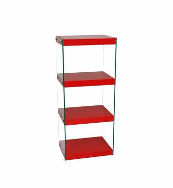 Moda Red Gloss Glass Display Shelving Unit Medium