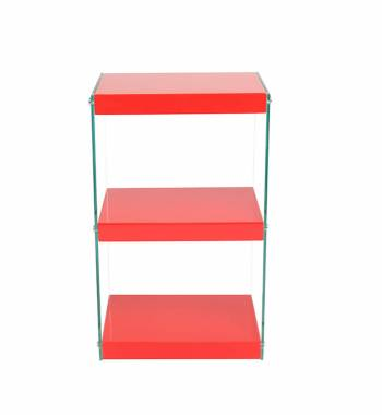 Moda Red Gloss Glass Display Shelving Unit Small