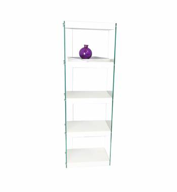 Moda White Gloss Glass Display Shelving Unit Large