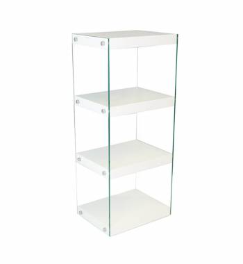 Moda White Gloss Glass Display Shelving Unit Medium