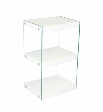Moda White Gloss Glass Display Shelving Unit Small
