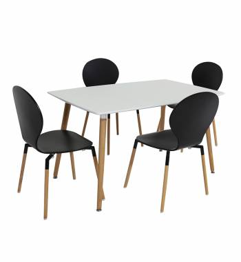 Naples 120 cm White Dining Table with 4 Naples Dining Chairs