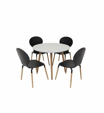 Naples 90 cm White Dining Table with 4 Naples Black Dining Chairs