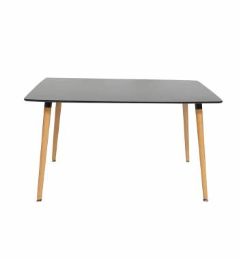 Naples Rectangle Black Beech Wood Dining Table 140 CM