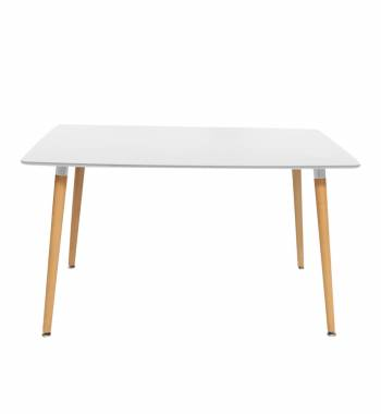 Naples Rectangle White Beech Wood Dining Table 140 CM