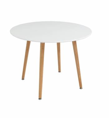 Naples Round White Beech Wooden Dining Table 90 CM
