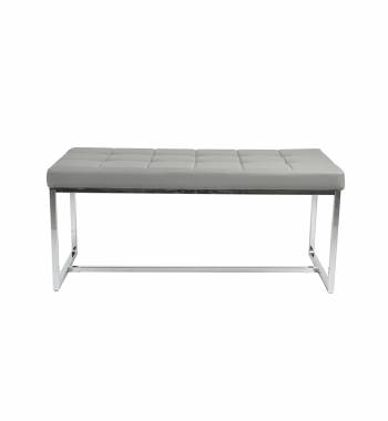 New York Modern New Grey Cushioned Leather and Chrome Dining Bench