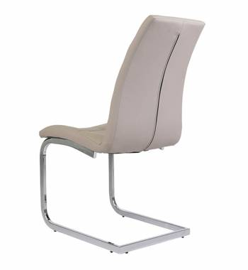 New York Faux Leather Mink Grey Cantilever Dining Chair