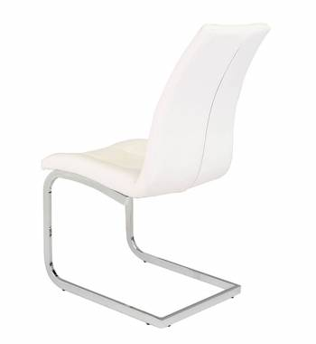 New York Faux Leather White Cantilever Dining Chair