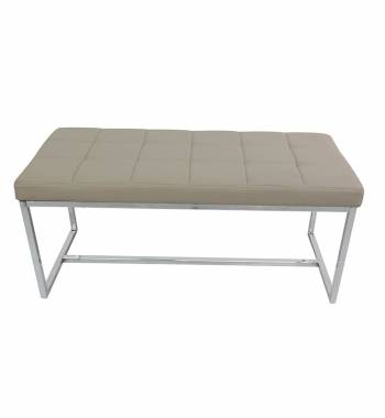 New York Modern Mink Grey Cushioned Leather and Chrome Dining Bench