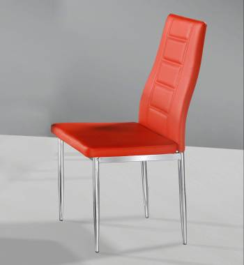 Nova Red Faux Leather and Chrome Dining Chair