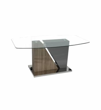 Opus Clear Glass Top and Solid Oak Wood Dining Table