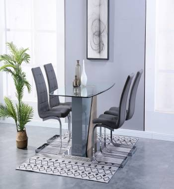 Opus Clear Glass Grey Dining Table with 6 Newyork Cantilever Chairs Grey