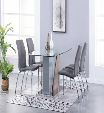 Opus Dining Table Clear Glass and Grey High Gloss with Ashwood Dining Table with 4 Boston PU Faux Leather Dining Chairs Grey