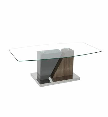 Opus Clear Glass Top and Solid Oak Wood Coffee Table