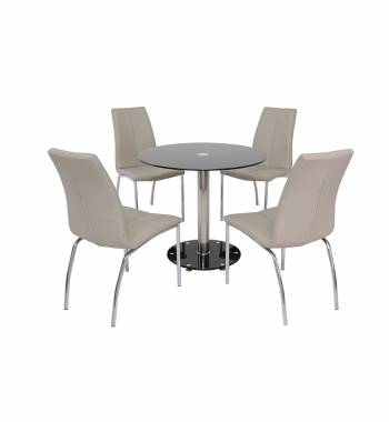 Parma 80 cm Black Glass Dining Table with 4 Boston Mink Grey Dining Chairs