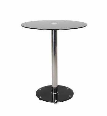 Parma Round Black Glass Top Bar Table