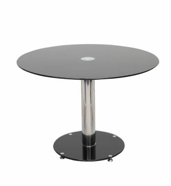 Parma Round Black Glass Top Small Dining Table (100 cm)
