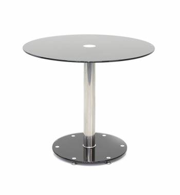 Parma Round Black Glass Top Small Dining Table (80 cm)