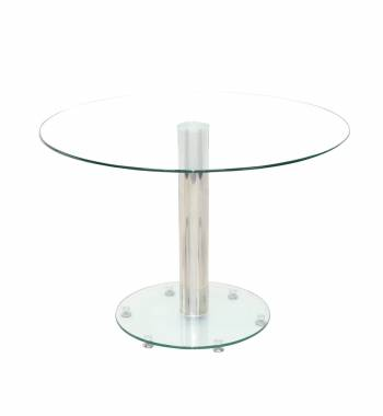 Parma Round Clear Glass Top Small Dining Table (100 cm)