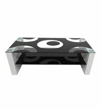 Rome Black Glass White High Gloss Coffee Table