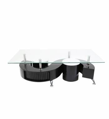S Shape Clear Glass Black Gloss Coffee Table with Storage and Stools