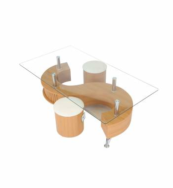S Shape Clear Glass Top Beech Storage Coffee Table with Stools