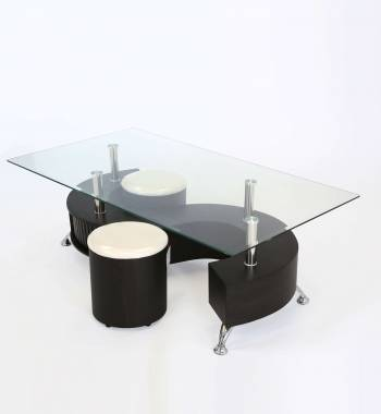S Shape Clear Glass Top Wengue Storage Coffee Table with Stools