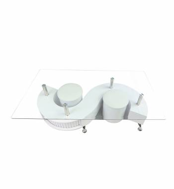 S Shape Clear Glass White Gloss Coffee Table with Storage and Stools
