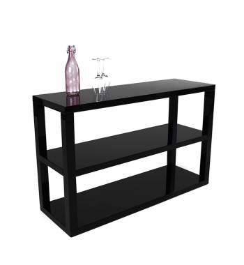 Saco 3 Tier Modern Black Gloss Sideboard