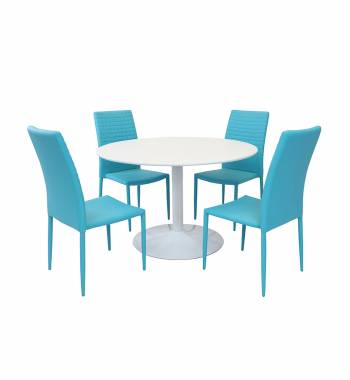 Snow White Round Dining Table with 4 Cuba Dining Chairs