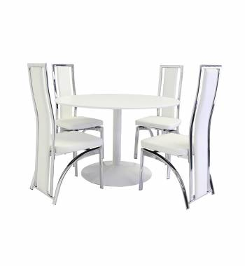 Snow White Round Dining Table with 4 Mayfair Dining Chairs