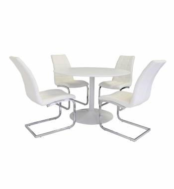 Snow White Round Dining Table with 4 New York Dining Chairs