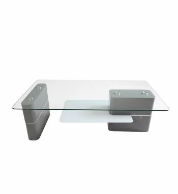 Tokyo Modern Clear Glass Coffee Table with Magazine Rack