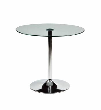 Torino Clear Glass Round Dining Table 80cm with Metal Legs