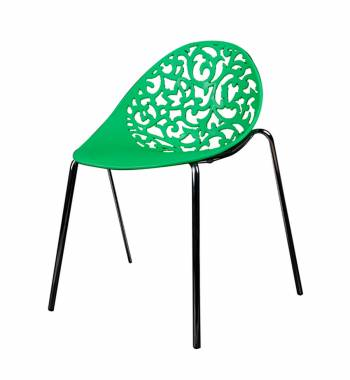 Vine Green Dining Chair With Black Legs