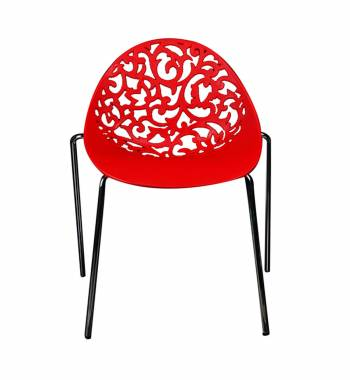 Vine Red Dining Chair With Black Legs