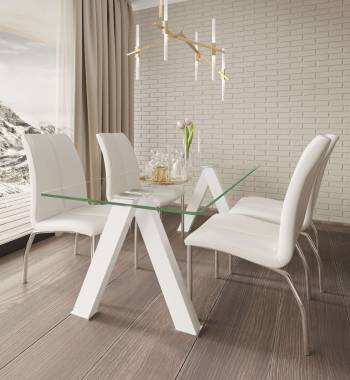 Criss Cross Dining Table with 4 Boston Dining Chair