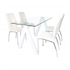 Criss Cross High Gloss Tempered Glass White Dining Table